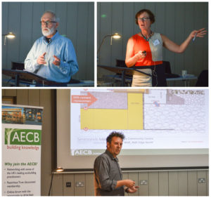 Both client and designers' perspectives on the Passivhaus Garway Village Hall - clockwise from top left: Malcolm Howard, Adele Mills, Andy Simmonds